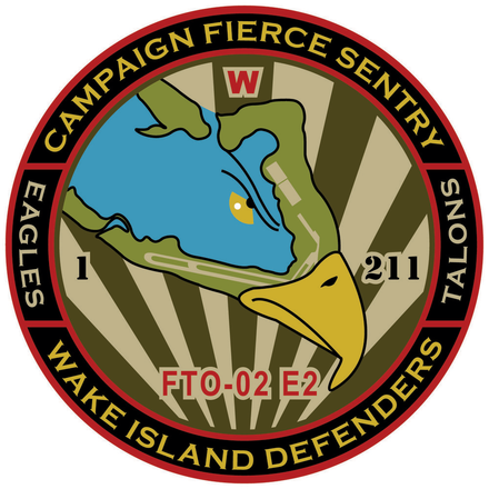 The insignia for Campaign Fierce Sentry (FTO-02 E2), a Missile Defense Agency Integrated Flight Test in 2015, depicts a map of Wake Island within the head of an eagle Campaign Fierce Sentry FTO-02 E2 Insignia.png