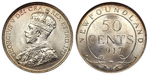 Newfoundland fifty cents - Image: Canada Newfoundland George V 50 Cents 1917C
