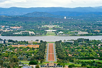 Canberra - Canberra, with the old and new Parliament House in the centre, viewed from Mount Ainslie