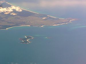 Cape Portland Tasmania with Swan Island, Little Swan Island and Cygnet Island in foreground.JPG