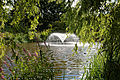 Capel Manor lake fountain from the west, Enfield London England.jpg