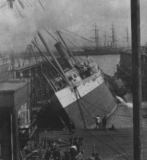 Union Iron Works - ''Columbia'' rolled over at the company dry dock following the earthquake.