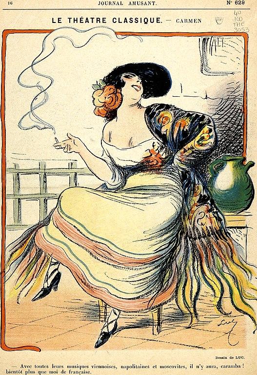 Illustration de l'opéra de Carmen de Bizet (1875).
