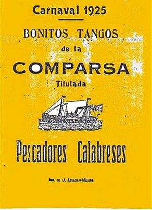 Comparsa - 1925 book of songs by the Pescadores Calabreses comparsa from the Carnival of Málaga, Spain.