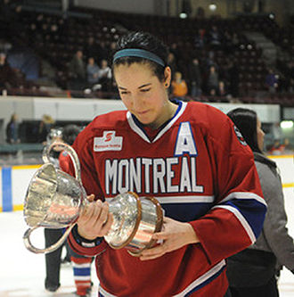 Les Canadiennes de Montreal -  Caroline Ouellette with Clarkson Cup on March 27, 2011
