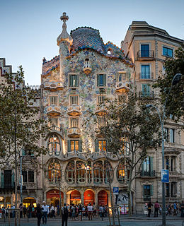 Modernist building, work of Antoni Gaudí, located in Paseo de Gracia in Barcelona
