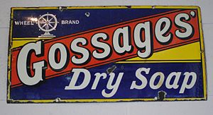 Gossage - Enamel advertising sign, now in the cafe at Catalyst Science Discovery Centre