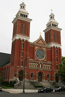 The Romanesque Revival style Cathedral of Our Lady of Lourdes in Downtown Spokane