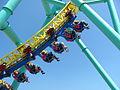 Cedar Point Raptor cars in motion (9550430872).jpg