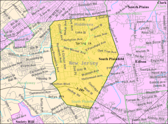 South Plainfield, New Jersey - Image: Census Bureau map of South Plainfield, New Jersey