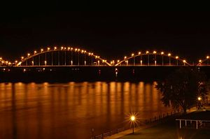 Rock Island Centennial Bridge - Centennial Bridge at night