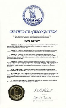 Certificate of Recognition Governor of the Commonwealth of Virginia Donald DePoy July 4, 2011
