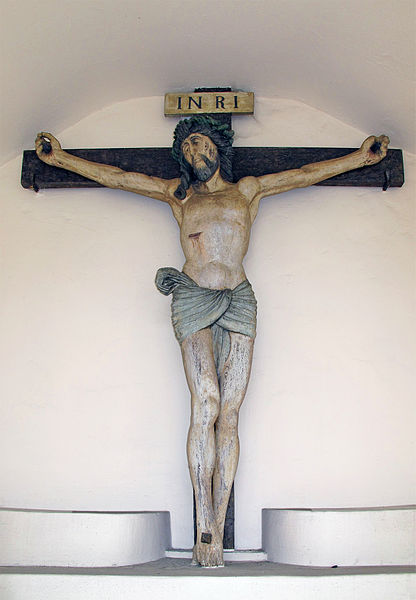 Wayside chapel with wooden crucifix in Hautcharage, 51 rue de Bascharage, Luxembourg