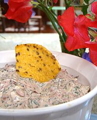 Chard dip with a flaxseed tortilla chip