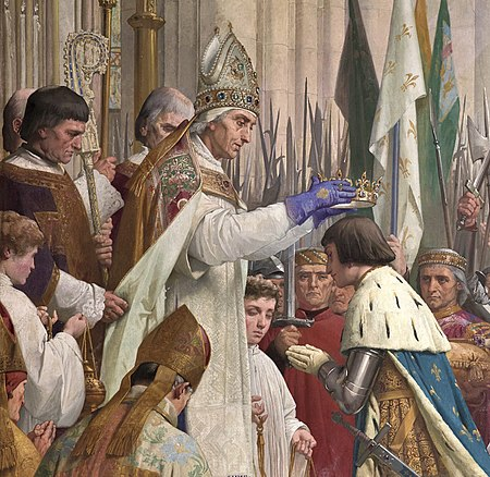 The coronation of Charles VII of France (1429), detail of the painting Jeanne d'Arc (1886-1890) by Jules Eugene Lenepveu Charles-vii-courronement- Pantheon III.jpg