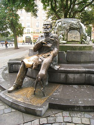 Charles Buls - Charles Buls fountain, Grasmarkt/Rue du Marché aux Herbes-Agora Square, Brussels.