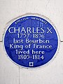Charles X 1757-1836 last Bourbon King of France lived here 1805-1814.jpg
