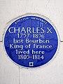 Charles X 1757-1836 last Bourbon King of France lived here 1805-1814.jpg