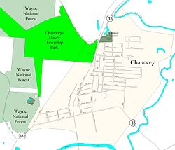 Street map of Chauncey