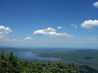 Dannemora (town), New York - View of Chazy Lake from the top of Lyon Mountain