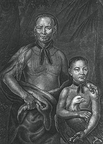 Muscogee - Yamacraw leader Tomochichi and nephew in 1733
