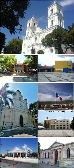 Collage, Top:Chilpancingo Saint Mary Cathedral, Second left:A kiosko in Alameda Park (Parque la Alameda), Second right:Museo de la Avispa (Avispa Museum), Third left:Chilpancingo Francisco Assisi Church, Third upper right:Guerrero Government Palace, Third lower right:Chilpancingo City Hall, Bottoms left:Sentimientos de la Nacion en Chilpancingo (Chilpancingo Feeling the Nation Arena), Bottom right:Museo de Regional de Guerrero (Regional Museum of Guerrero)