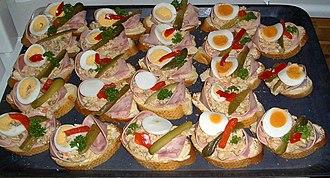 Czech cuisine - Obložené chlebíčky, a type of snack or appetizer