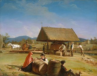 Cider in the United States - Cider Making, painting by William Sidney Mount, 1840-1841