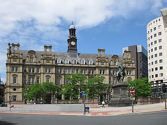 Leeds City Square - The paved area and statues in front of the former General Post Office