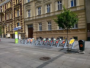 Katowice - Veturilo bicycles on Mariacka Street