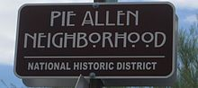 City of Tucson Pie Allen Historic Neighborhood street sign, July 2014.jpg