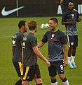 Clint Dempsey with Tottenham teammates USA vs Belgium 1.jpg