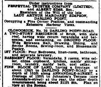 Cloncorrick (Darling Point) - Advertisement in a newspaper for the sale of Cloncorrick in 1933.