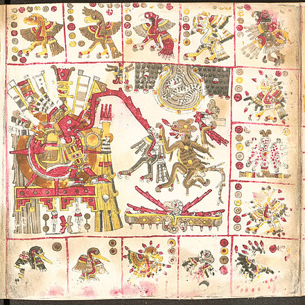 Page from the pre-Columbian Codex Borgia a folding codex painted on deer skin prepared with gesso Codex Borgia page 71.jpg
