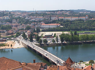 Coimbra Academic Association - A view of the southern top of the University Stadium and Sports Complex of the University of Coimbra near the Mondego river.