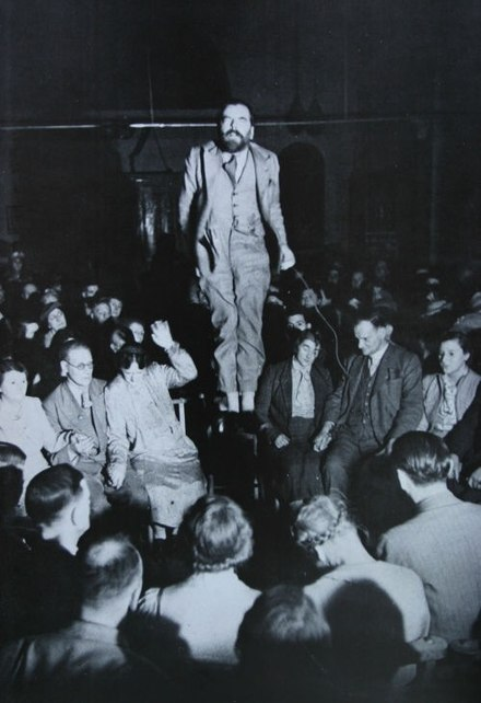 Colin Evans, who claimed spirits lifted him into the air, was exposed as a fraud. Colin Evans fraud in 1938.jpg