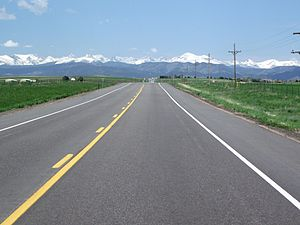 Colorado State Highway 52 - Snowcapped peaks of the Continental divide as seen from SH 52