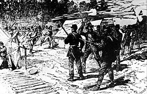 Rebel yell - Confederate soldiers charge at the Battle of Shiloh