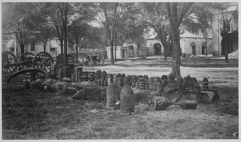 File:Confederate torpedoes, shot, and shells in front of the arsenal, Charleston, South Carolina, 1865 - NARA - 533134.jpg