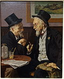 Conversation by Louis Moeller, undated, oil on canvas - New Britain Museum of American Art - DSC09346