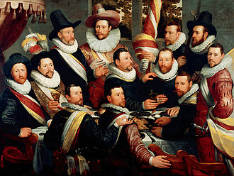The Banquet of the Officers of the St George Militia Company in 1616 - The same militia company in 1599, by Cornelis van Haarlem