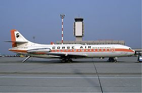 Corse Air International Sud Aviation Caravelle at Basle Airport in October 1985.jpg