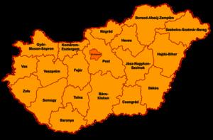 Mapa da Hungria com os 19 condados em laranja e a capital Budapeste em vermelho