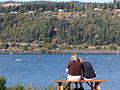 Couple Look Out over Columbia River Recreational Site - Hood River - Oregon - USA.jpg