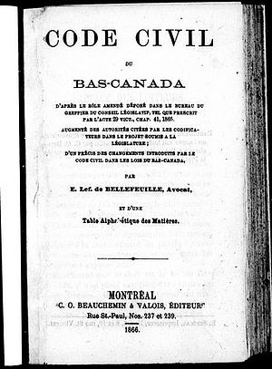 Civil Code of Lower Canada - Cover page from an 1866 edition of the Code