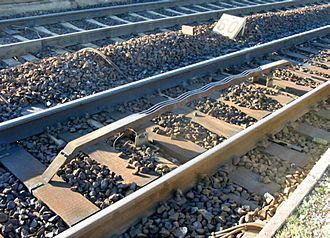 Crocodile (train protection system) - A crocodile, fixed between rails