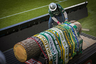 Portland Timbers - Timber Joey cutting the first Goal Slice of the 2013 season