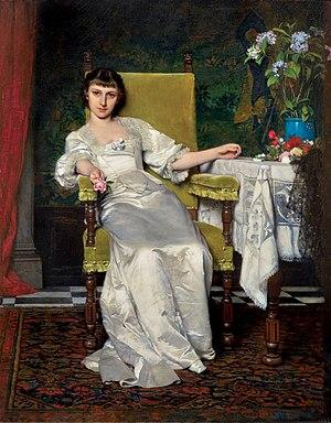 Władysław Czachórski - A lady with rose. 1879.