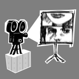 Zeichnung eines Filmprojektors und einer Leinwand