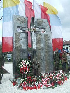 Krzyż Katyński w Wadowicach, odsłonięty 22 kwietnia 2010 roku z okazji 70. rocznicy zbrodni